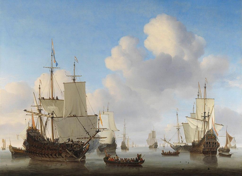 Dutch Men-O'-War and Other Shipping in a Calm - Willem van de Velde II