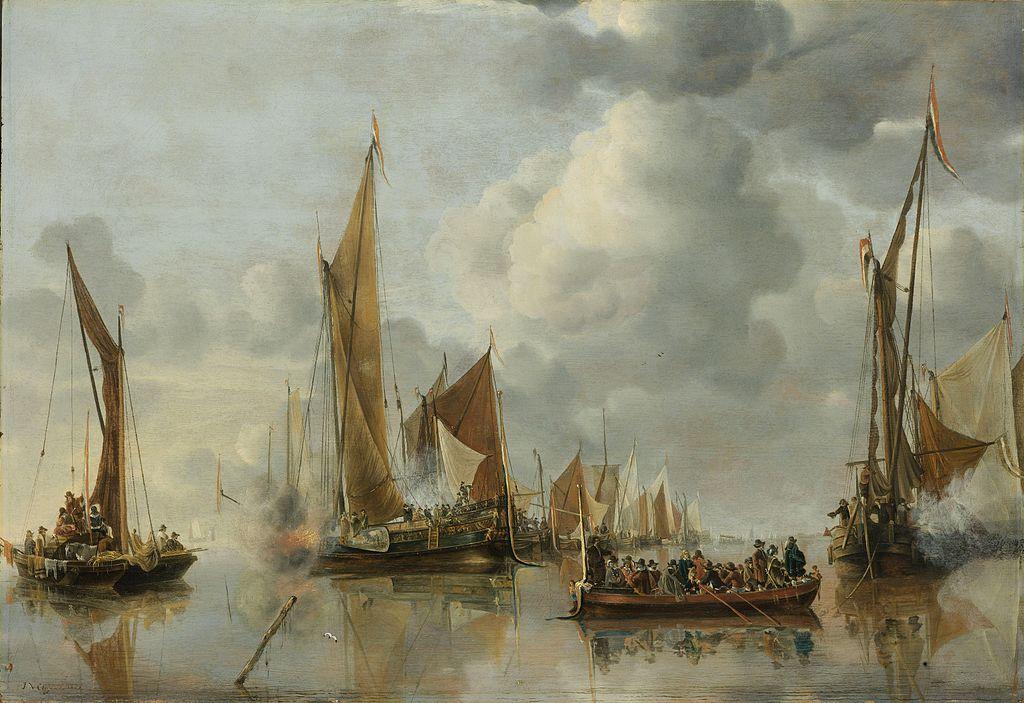 The Home Fleet Saluting the State Barge - Jan van de Cappelle