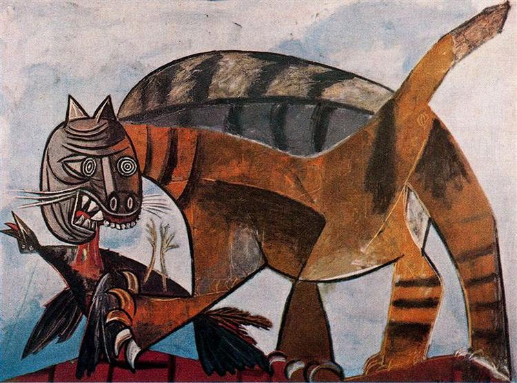 Cat Eating a Bird - Pablo Picasso
