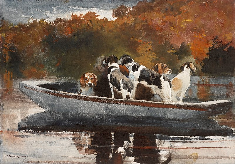 Hunting Dogs in a Boat – Winslow Homer