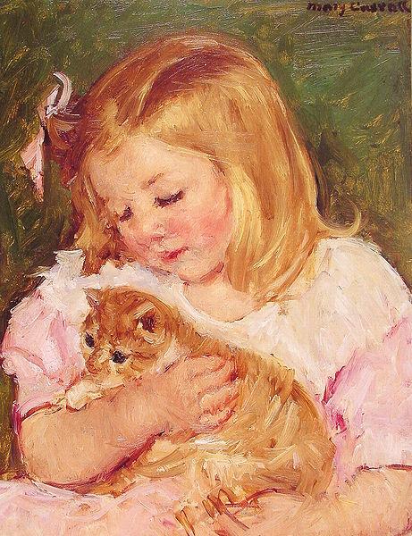 Sara Holding A Cat - Mary Cassatt