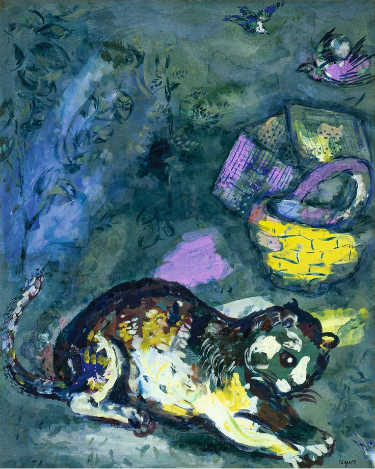 The Cat and Two Sparrows - Marc Chagall