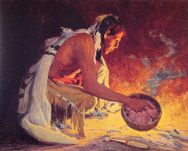 Indian by Firelight - Eanger Irving Couse